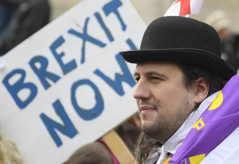 Demonstrators supporting Brexit protest outside of the Houses of Parliament in London, Britain, November 23, 2016. REUTERS/Toby Melville/Files