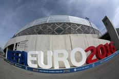 The sign announcing the UEFA Euro 2106 tournament is seen at the Allianz Riviera stadium, one of the 10 venues of the upcoming Euro 2016 soccer championship in Nice, France, March 29, 2016. REUTERS/Eric Gaillard