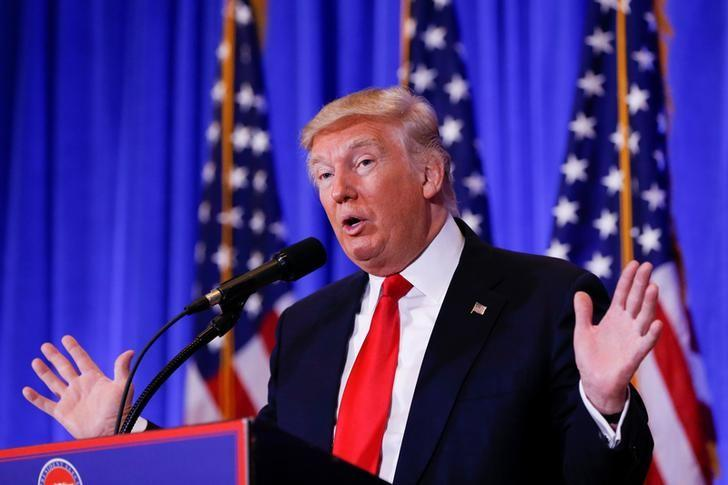 U.S. President-elect Donald Trump speaks during a press conference in Trump Tower, Manhattan, New York, U.S., January 11, 2017. REUTERS/Shannon Stapleton