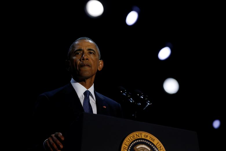 U.S. President Barack Obama delivers his farewell address in Chicago, Illinois, U.S., January 10, 2017. Picture taken January 10, 2017. REUTERS/Jonathan Ernst