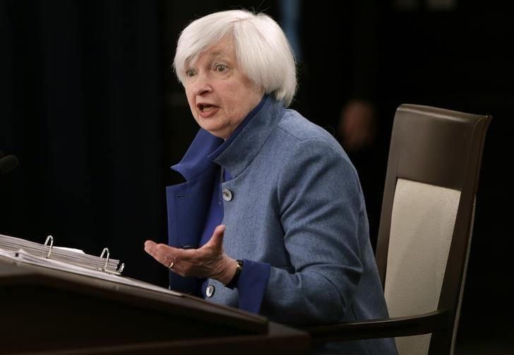 U.S. Federal Reserve  Chair Janet Yellen holds a news conference following day two of the Federal Open Market Committee (FOMC) meeting in Washington, U.S., December 14, 2016.  REUTERS/Gary Cameron