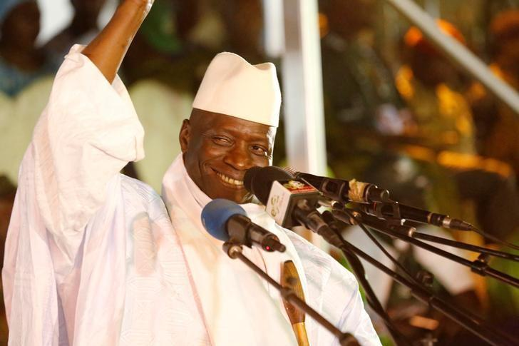 Gambia's President Yahya Jammeh, who is also a presidential candidate for the Alliance for Patriotic Re-orientation and Construction (APRC), smiles during a rally in Banjul, Gambia, November 29, 2016. REUTERS/Thierry Gouegnon/Files