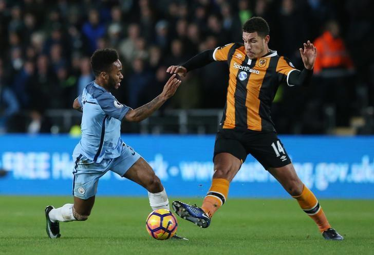 Britain Soccer Football - Hull City v Manchester City - Premier League - The Kingston Communications Stadium - 26/12/16 Manchester City's Raheem Sterling in action with Hull City's Jake Livermore  Reuters / Scott Heppell Livepic