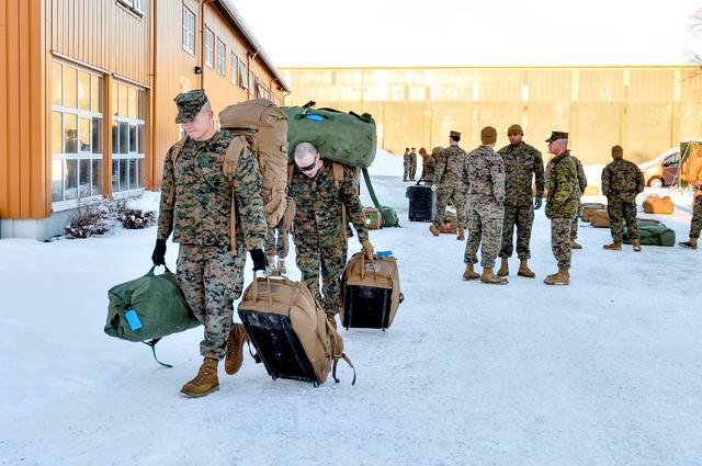 U.S. Marines, who are to attend a six-month training to learn about winter warfare, arrive in Stjordal, Norway January 16, 2017. NTB Scanpix/Ned Alley/via REUTERS