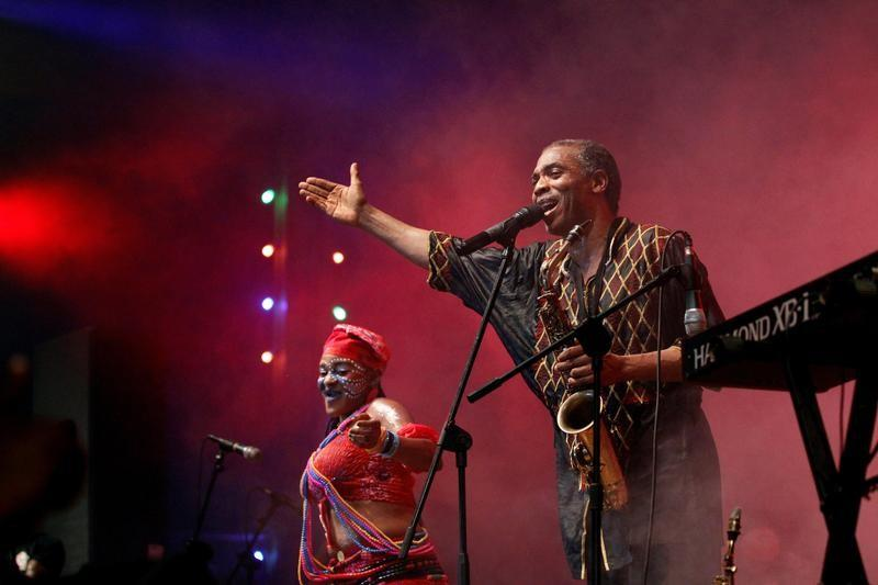 Image result for Femi Kuti performing with his band at fela shrine