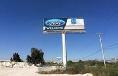 A billboard welcoming Ford Motor Co is seen at an industrial park in San Luis Potosi, Mexico, January 4, 2017.  REUTERS/Christine Murray