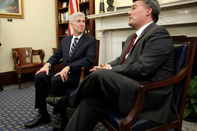 Supreme Court Nominee Judge Neil Gorsuch meets with Senator Cory Gardner (R-CO) on Capitol Hill in Washington, U.S., February 1, 2017. REUTERS/Joshua Roberts