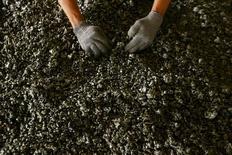 Un trabajador mostrando níquel en la planta  Aneka Tambang Tbk en Pomala, Indonesia, mar 30, 2011. Filipinas ordenó el jueves el cierre de 23 minas, en su mayoría productores de níquel que suman cerca de la mitad de la extracción del mayor proveedor mundial del mineral, dentro de una campaña gubernamental para combatir la degradación medioambiental por la industria.    REUTERS/Yusuf Ahmad/File Photo