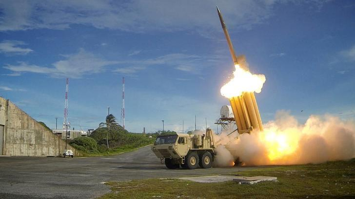 A Terminal High Altitude Area Defense (THAAD) interceptor is launched during a successful intercept test, in this undated handout photo provided by the U.S. Department of Defense, Missile Defense Agency. U.S. Department of Defense, Missile Defense Agency/Handout via Reuters/Files
