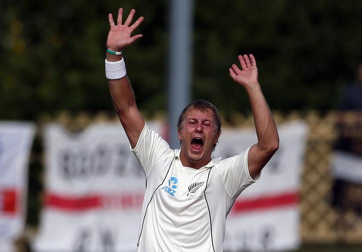 New Zealand's Neil Wagner appeals successfully for LBW to dismiss England's Nick Compton for 117 runs during the fifth day of the first test at the University Oval in Dunedin March 10, 2013.  REUTERS/David Gray/Files