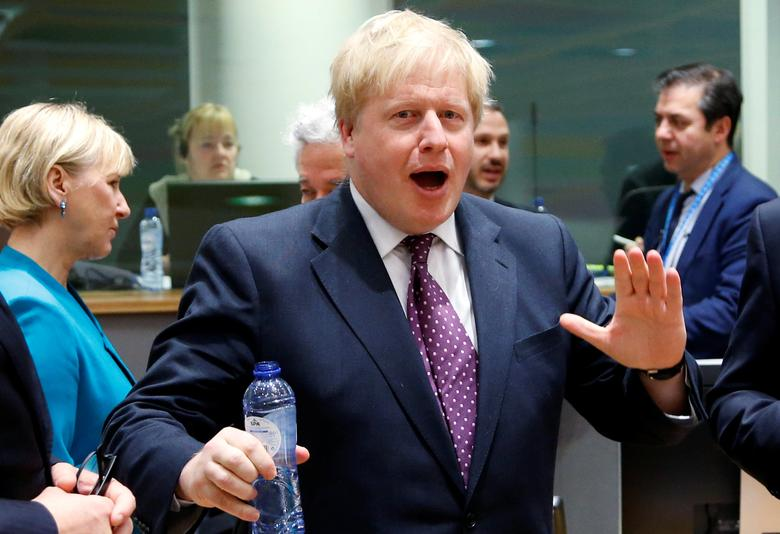 Britain's Foreign Secretary Boris Johnson gestures during a European Union foreign ministers meeting in Brussels, Belgium February 6, 2017. REUTERS/Francois Lenoir