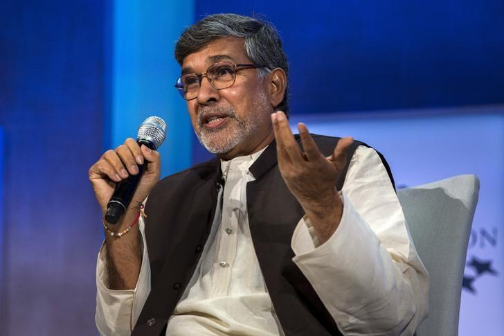 Kailash Satyarthi, 2014 Nobel Peace Prize Laureate, takes part in a panel during the Clinton Global Initiative's annual meeting in New York, September 27, 2015.  REUTERS/Lucas Jackson