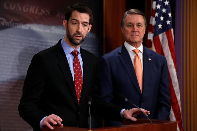2月7日、米上院の共和党議員2人が7日、合法的な移民の数を半分に減らす法案を提出した。ただ、議会を通過するにはさまざまな困難がありそうだ。法案を提出した共和党のトム・コットン議員(写真左)とデービッド・パーデュー議員(写真右)。ワシントンで撮影(2017年 ロイター/Jonathan Ernst)