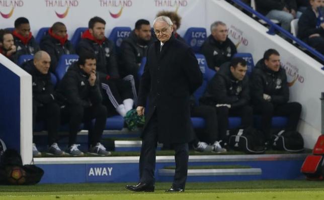2月7日、サッカーのイングランド・プレミアリーグ、岡崎慎司所属のレスターは、クラウディオ・ラニエリ監督をサポートする声明を出した。5日に英レスターで撮影。(2017年ロイター)