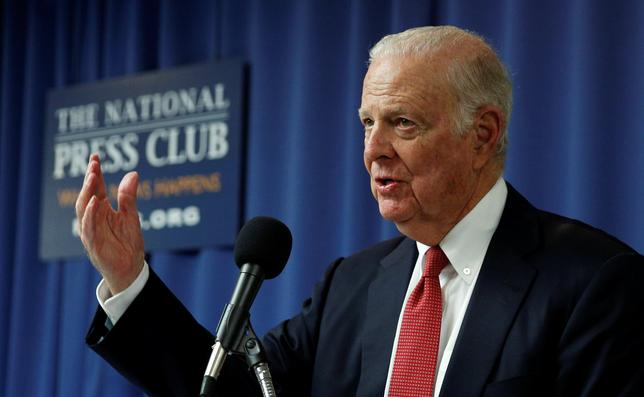 Former U.S. Secretary of State James Baker speaks about a plan to repeal and replace the Clean Power Plan at the National Press Club in Washington February 8, 2017. REUTERS/Kevin Lamarque