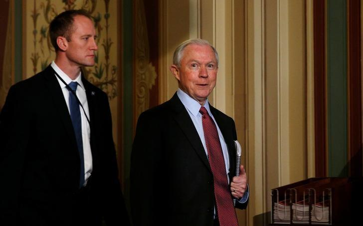 Senator Jeff Sessions, who was today confirmed by the U.S. Senate Judiciary Committee to become U.S. Attorney General, walks in the U.S. Capitol in Washington, U.S., February 1, 2017.   REUTERS/Kevin Lamarque