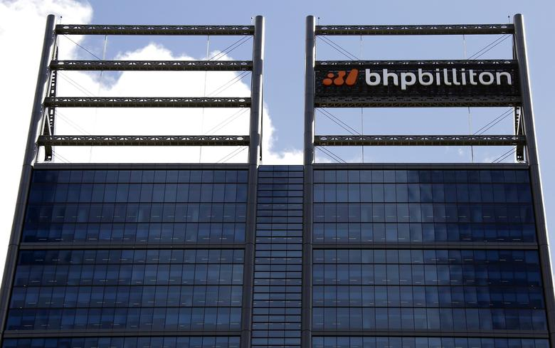 FILE PHOTO -  A sign adorns the building where mining company BHP Billiton has their office in Perth, Western Australia, November 19, 2015.   REUTERS/David Gray/File Photo
