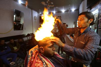 Hair styling with fire