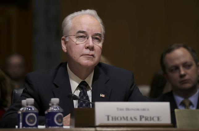 U.S. Rep. Tom Price (R-GA) listens to opening remarks prior to testifying before a Senate Finance Committee confirmation hearing on his nomination to be Health and Human Services secretary on Capitol Hill in Washington, U.S., January 24, 2017. REUTERS/Carlos Barria