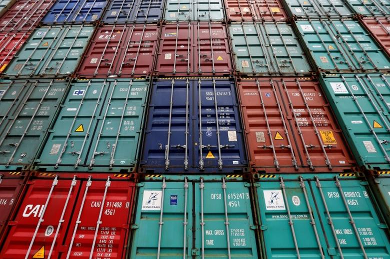 FILE PHOTO: A stack of shipping containers are pictured in the Port of Miami in Miami, Florida, U.S., May 19, 2016. REUTERS/Carlo Allegri/File Photo