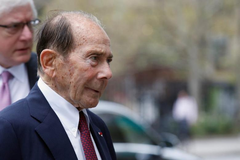 FILE PHOTO - Maurice ''Hank'' Greenberg, former chairman of American International Group Inc., (AIG) arrives at the New York State Supreme Courthouse in Manhattan, New York City, U.S., September 29, 2016.  REUTERS/Brendan McDermid