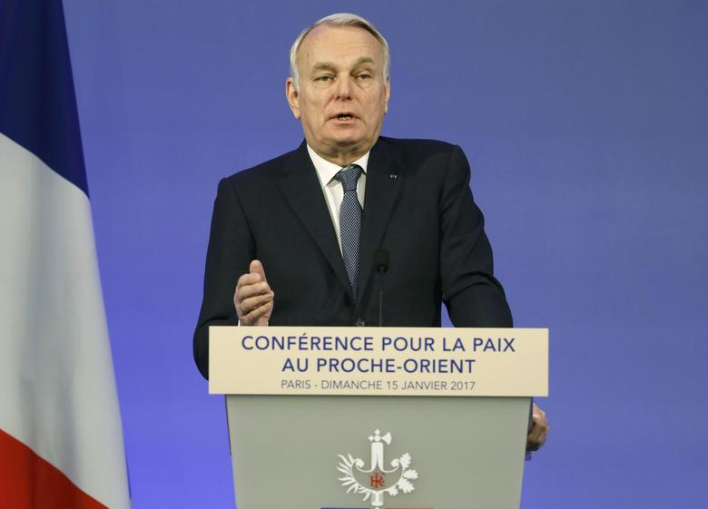 French Minister of Foreign Affairs Jean-Marc Ayrault addresses delegates at the opening of the Mideast peace conference in Paris, January 15, 2017. REUTERS/Thomas Samson