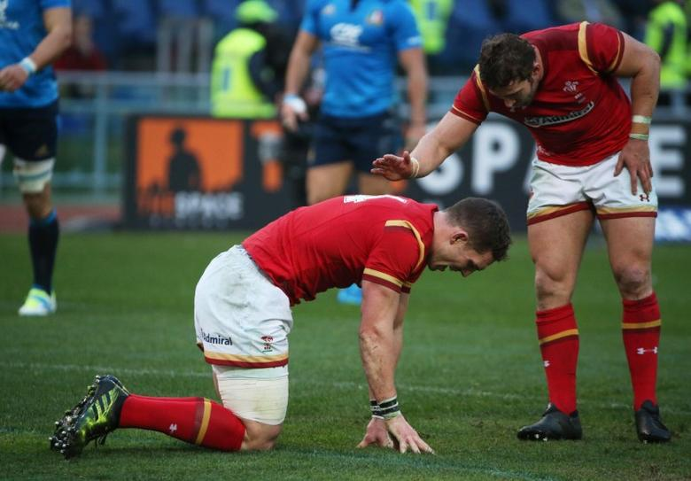 Rugby Union - Italy v Wales - Six Nations Championship - Stadio Olimpico, Rome - 5/2/17 Wales' George North celebrates with team mates after scoring a try Reuters / Alessandro Bianchi Livepic