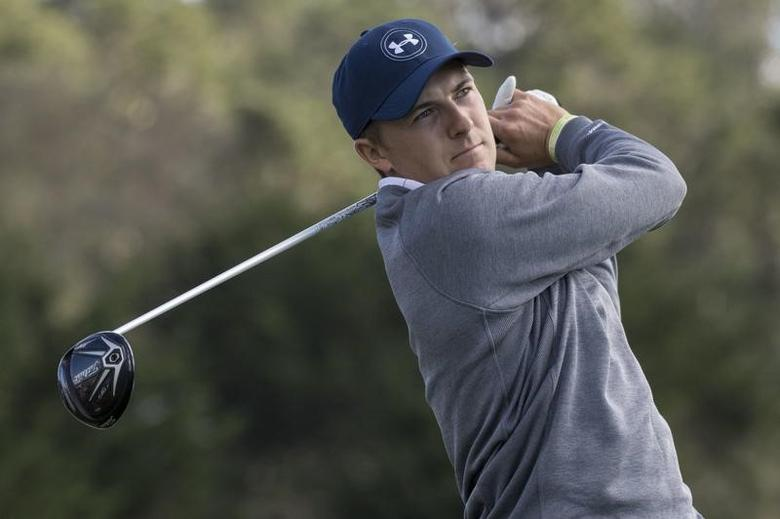 February 11, 2017; Pebble Beach, CA, USA; Jordan Spieth hits his tee shot on the third hole during the third round of the AT&T Pebble Beach Pro-Am golf tournament at Pebble Beach Golf Links. Mandatory Credit: Kyle Terada-USA TODAY Sports