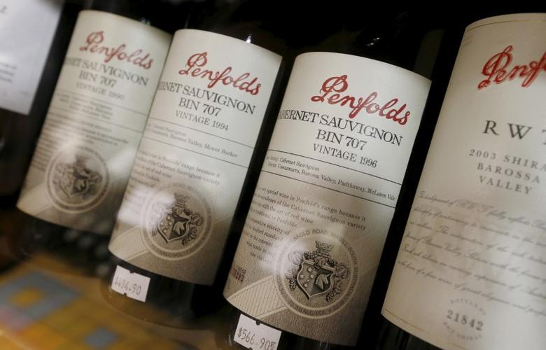 Bottles of Penfolds wines, one of the brands from the Treasury Wines group, are shown at a Sydney boutique wine store, February 15, 2016. REUTERS/Jason Reed