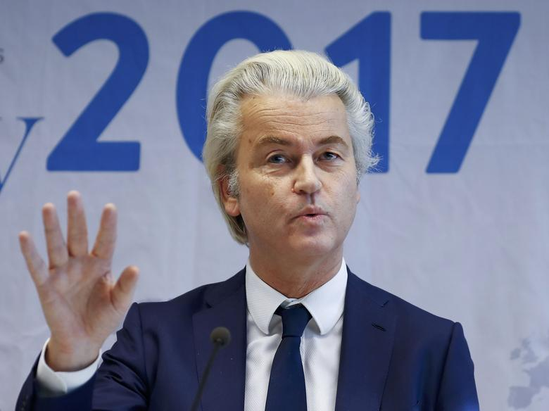 Netherlands' Party for Freedom (PVV) leader Geert Wilders arrives for a news conference after a European far-right leaders meeting in Koblenz, Germany, January 21, 2017.    REUTERS/Wolfgang Rattay