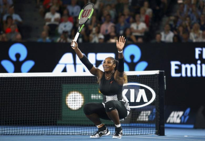 Tennis - Australian Open - Melbourne Park, Melbourne, Australia - 28/1/17 Serena Williams of the U.S. celebrates winning during her Women's singles final match against Venus Williams of the U.S. REUTERS/Jack Thomas/Pool