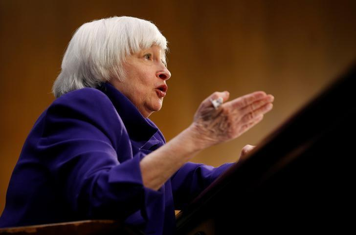"Federal Reserve Chair Janet Yellen testifies before a Senate Banking, Housing, and Urban Affairs Committee hearing on the ""Semiannual Monetary Policy Report to the Congress"" on Capitol Hill in Washington, U.S., February 14, 2017. REUTERS/Joshua Roberts/Files"