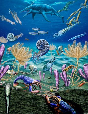 An artist's depiction of the diversified and complex Early Triassic marine ecosystem of southeastern Idaho, U.S., revealed soon after the Earth's worst mass exinction, contradicting long-held notion life was slow to recover from calamity.  Illustration courtesy of Jorge Gonzalez/Handout via REUTERS