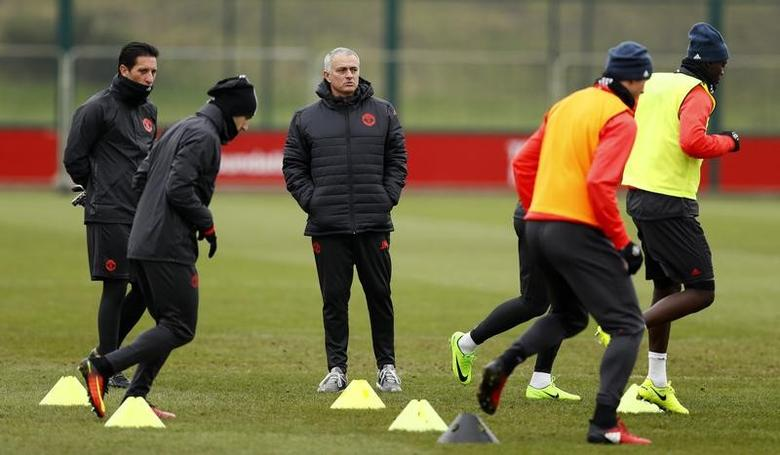 Britain Football Soccer - Manchester United Training - Manchester United Training Ground - 15/2/17 Manchester United manager Jose Mourinho during training Action Images via Reuters / Jason Cairnduff Livepic