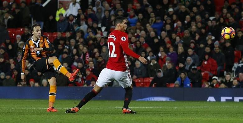 Britain Soccer Football - Manchester United v Hull City - Premier League - Old Trafford - 1/2/17 Hull City's Lazar Markovic shoots against the post Reuters / Phil Noble Livepic