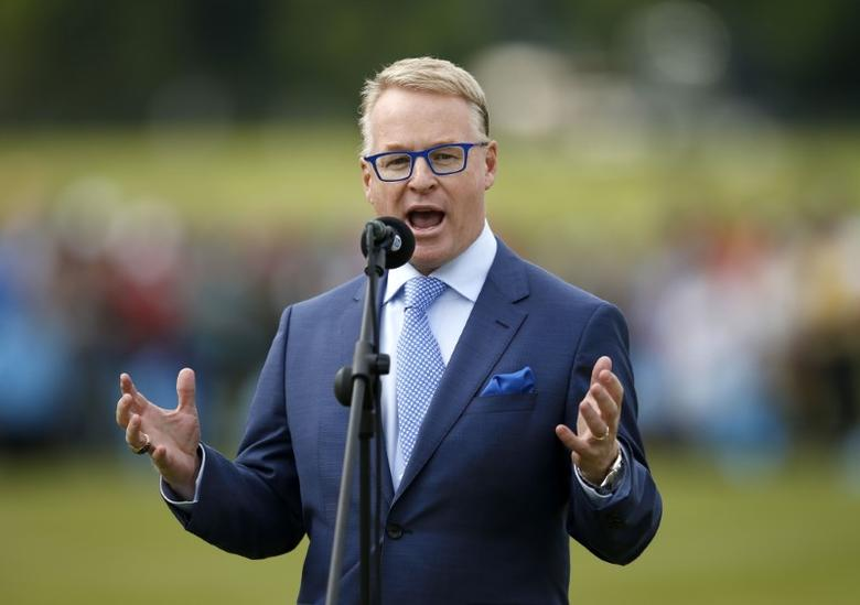 Britain Golf - BMW PGA Championship - Wentworth Club, Virginia Water, Surrey, England - 29/5/16 CEO of the PGA European Tour Keith Pelley speaks during the presentation Mandatory Credit: Action Images / Andrew Boyers