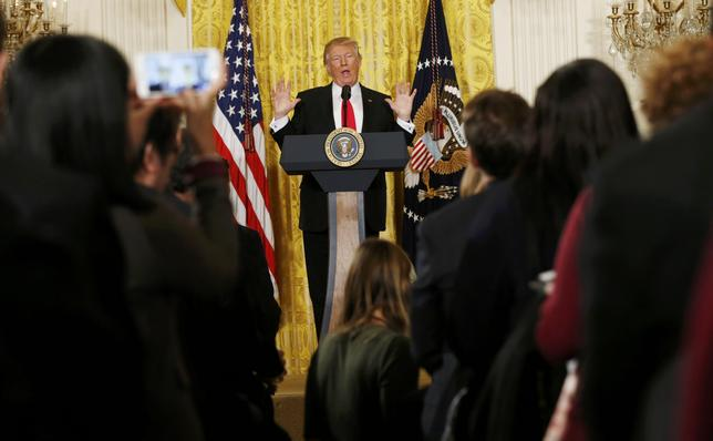 U.S. President Donald Trump holds a news conference at the White House in Washington, U.S., February 16, 2017.  REUTERS/Kevin Lamarque
