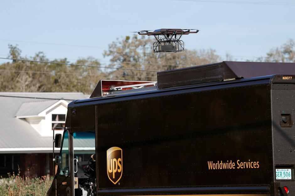 A Drone Returns To New Location After Demonstrating Delivery Capabilities From The Top Of UPS Truck During Testing In Lithia Florida US February 20