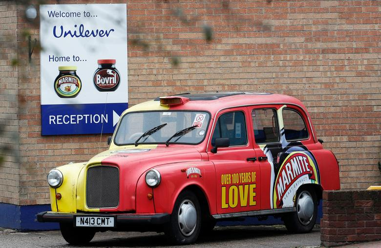 FILE PHOTO --  A branded taxi stands outside Unilever's Marmite factory in Burton upon Trent, Britain, October 13, 2016.  REUTERS/Darren Staples/File Photo