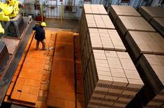 Un trabajador ordenando ladrillos en la fábrica Cerámica Fanelli en La Plata, Argentina, jun 13 2016. La actividad económica de Argentina se habría contraído en promedio un 0,5 por ciento interanual en diciembre, con lo que acumularía nueve meses consecutivos en baja, afectada en gran medida por la caída en la industria y la construcción, según un sondeo de Reuters publicado el miércoles.   REUTERS/Enrique Marcarian/File Photo