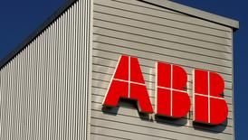 The logo of Swiss engineering group ABB is seen at a plant in Zurich, Switzerland September 29, 2016.  REUTERS/Arnd Wiegmann/File Photo