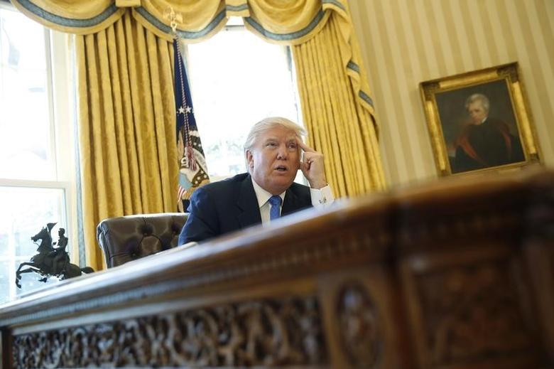 U.S. President Donald Trump is interviewed by Reuters in the Oval Office at the White House in Washington, U.S., February 23, 2017. REUTERS/Jonathan Ernst