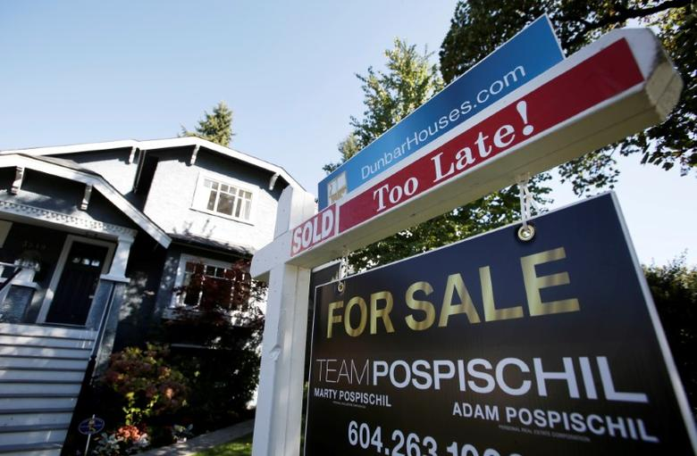 File Photo: A real estate for sale sign is pictured in front of a home in Vancouver, British Columbia, Canada, September 22, 2016.   REUTERS/Ben Nelms/File Photo