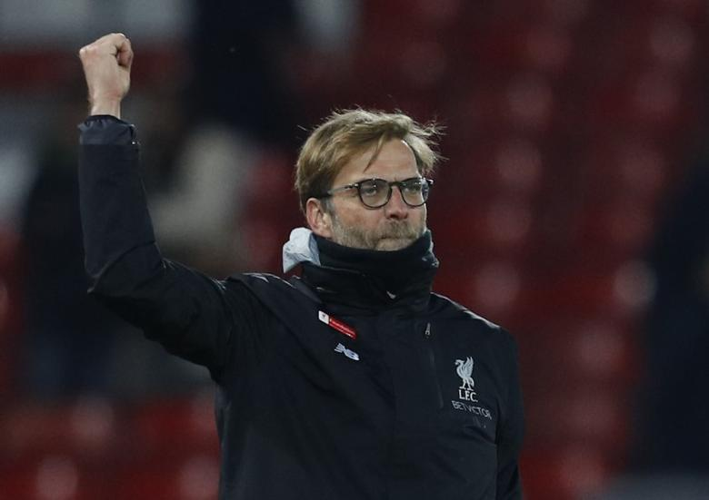 Britain Soccer Football - Liverpool v Tottenham Hotspur - Premier League - Anfield - 11/2/17 Liverpool manager Juergen Klopp celebrates after the match Reuters / Phil Noble Livepic