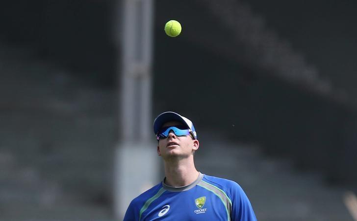 Cricket - Australia team practice session - Brabourne Stadium, Mumbai, India - 15/02/17 - Australia's captain Steve Smith tosses a ball. REUTERS/Shailesh Andrade
