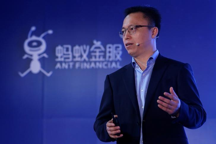 Ant Financial CEO Eric Jing speaks during the Ant Financial event in Hong Kong, China November 1, 2016. REUTERS/Bobby Yip