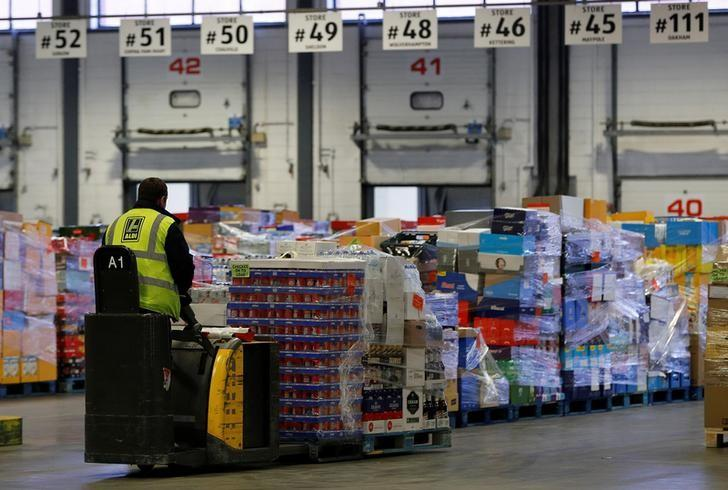 Goods are prepared for delivery at the Aldi distribution centre in Atherstone, Britain February 9, 2017. REUTERS/Darren Staples