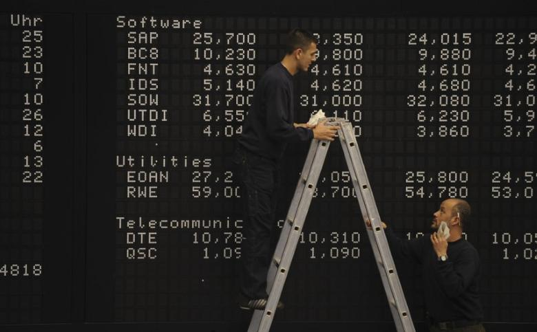 Employees prepare to clean a part of the share price index DAX board at the German stock exchange in Frankfurt, October 27, 2008. REUTERS/Kai Pfaffenbach