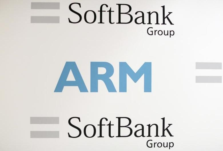 An ARM and SoftBank Group branded board is displayed at a news conference in London, Britain July 18, 2016. REUTERS/Neil Hall - RTSIHUR