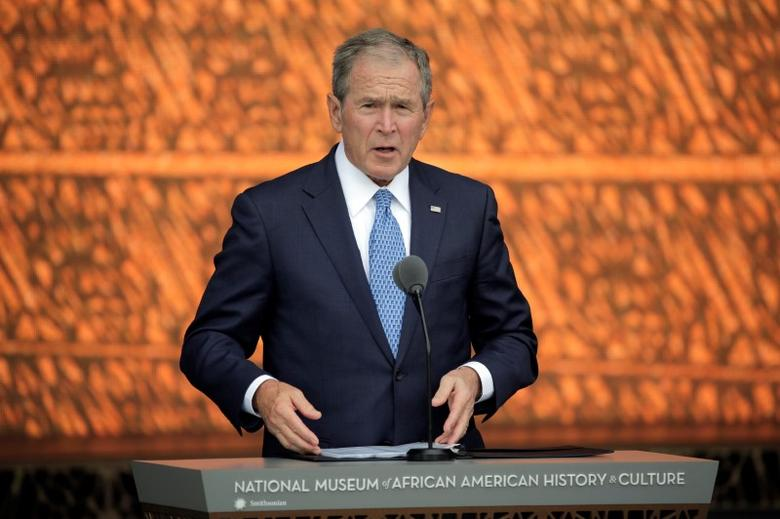 Former U.S. President George W. Bush speaks at the dedication of the Smithsonian's National Museum of African American History and Culture in Washington, U.S., September 24, 2016. REUTERS/Joshua Roberts